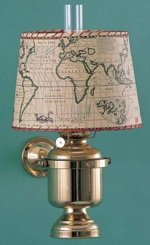 Wandlamp groot vast kap zeekaart rond elektrisch