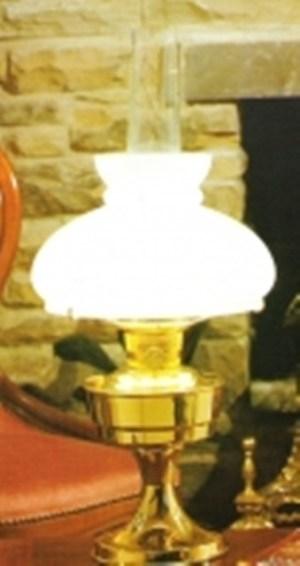 Aladdin tafellamp messing kap opaal elektrisch