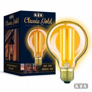 Classic Gold GLOBE LED lamp, helder
