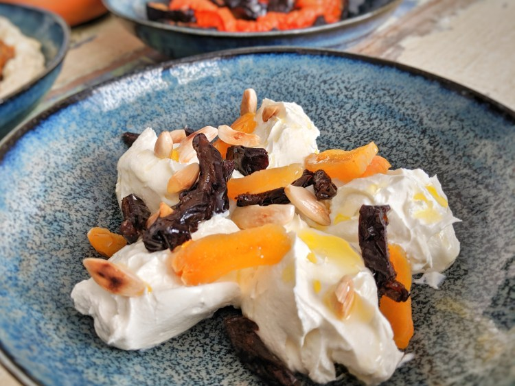 Labneh with dried fruit and nuts