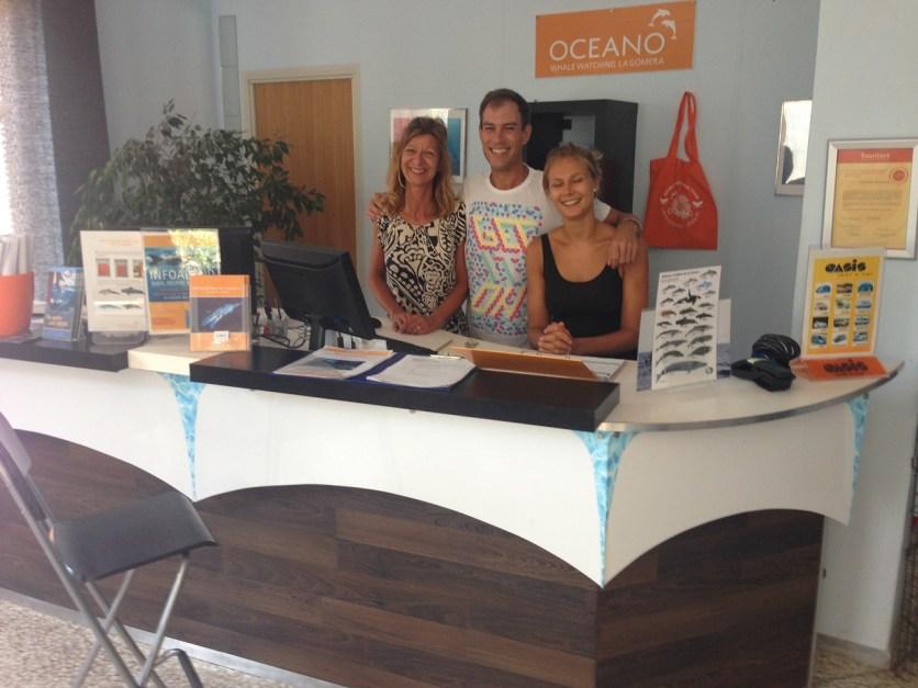 Das OCEANO Whale Watching Büro im Hafen von Vueltas