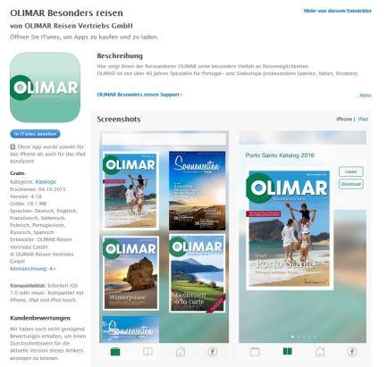 OLIMAR App im App Store erhältlich