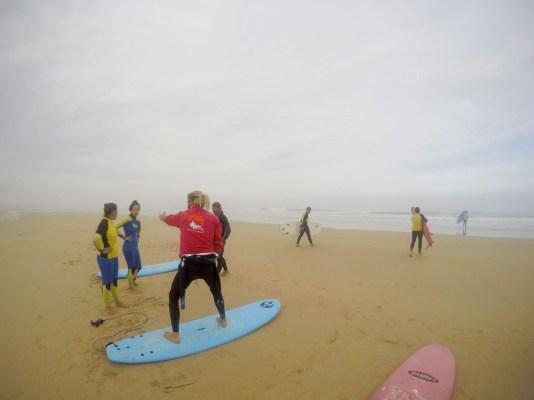 Surfkurs Trockenübungen am Strand Portugal