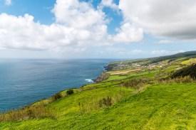 Aussicht Küste Wiesen Sao Miguel Azoren