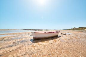 Fischerboot bei Ebbe Cacela Velha