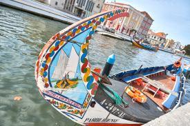 Buntes Boot Sehenswürdigkeit Aveiro Portugal