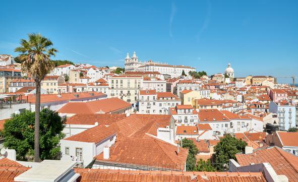 Blick über Dächer von Lissabon Panorama
