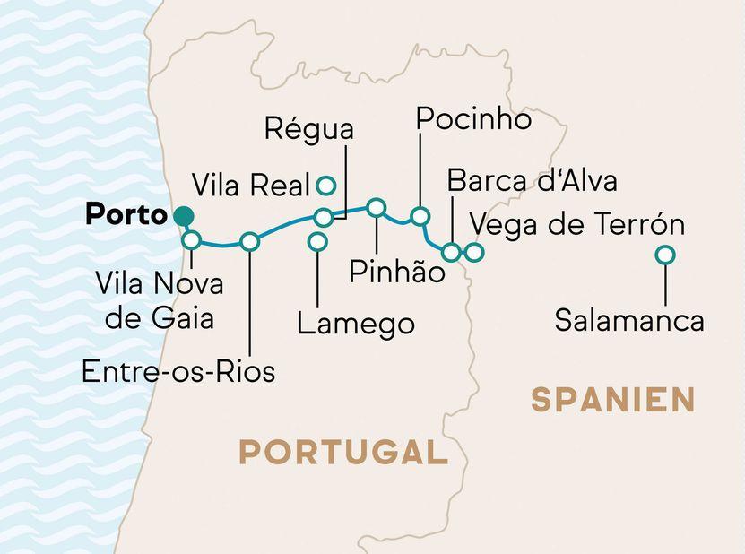Reiseverlauf MS Douro Cruiser