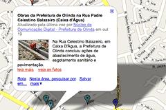 Mapa das ações da Prefeitura de Olinda. Imagem: Google Imagens