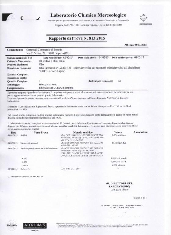 Rapporto di prova chimica 2014 oliveto RL