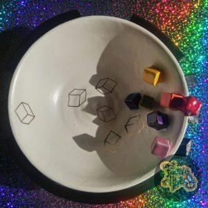 Rainbow & Gold Cube Bowl