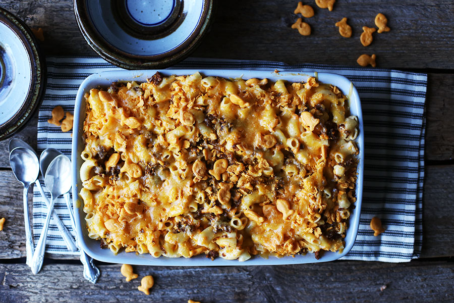 Goldfish Topped Chorizo Mac & Cheese