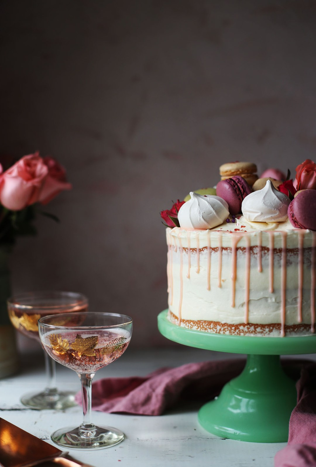 Pink Champagne Cake with White Chocolate Frosting
