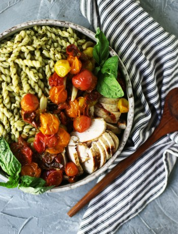 Pesto Pasta with Lemon Garlic Chicken and Cherry Tomato Confit