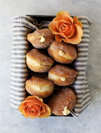 Salted Caramel Cream Cheese Filled Cinnamon and Sugar Donuts