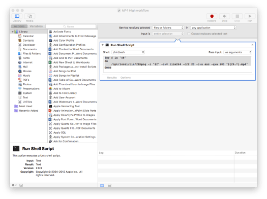 Guide: Automate MP4 FFMPEG video encoding as an Automator