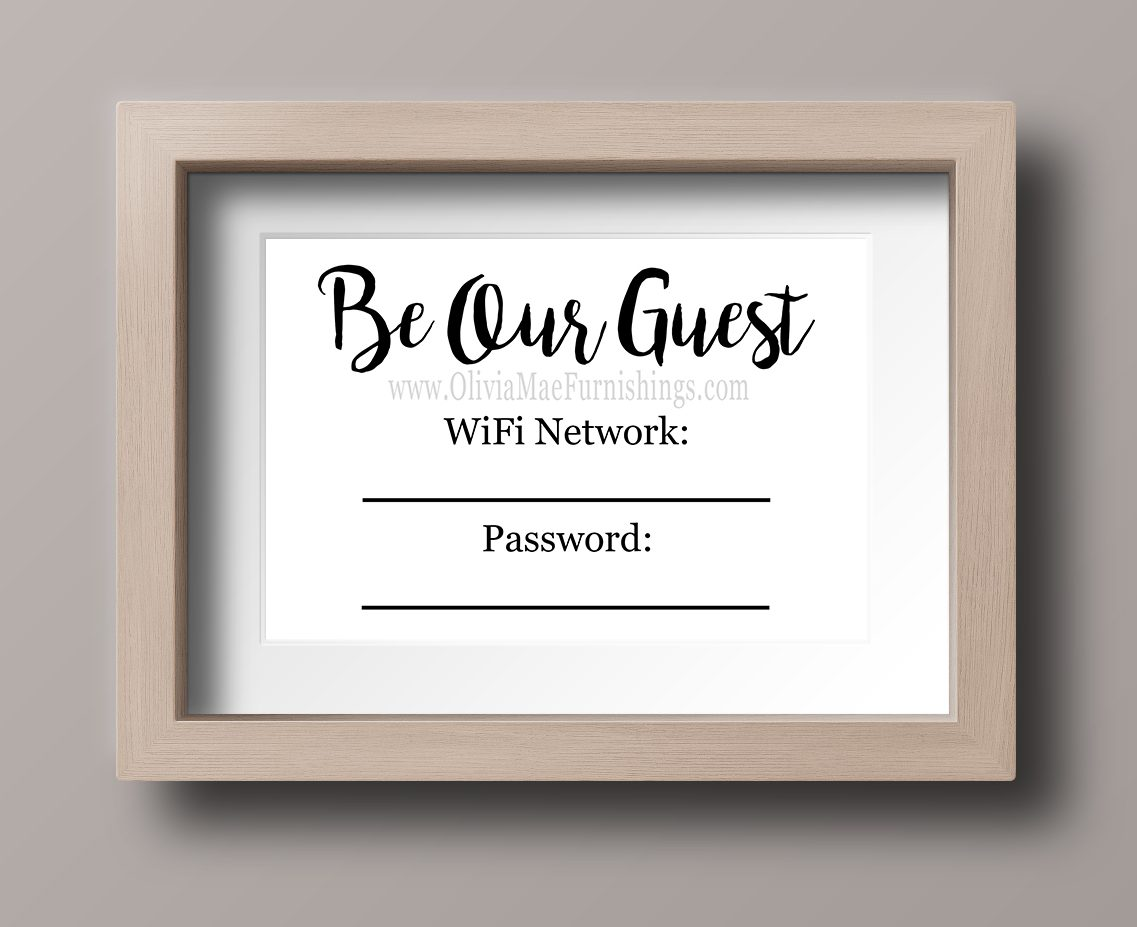 photo regarding Wifi Password Printable Free called Be Our Visitor WiFi Pword - Quick Obtain Print Olivia Mae Furniture
