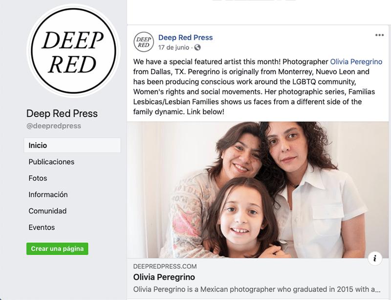 """Foto de la página de Facebook de la revista Deep Red Press sobre mi proyecto """"Familias Lésbicas"""""""