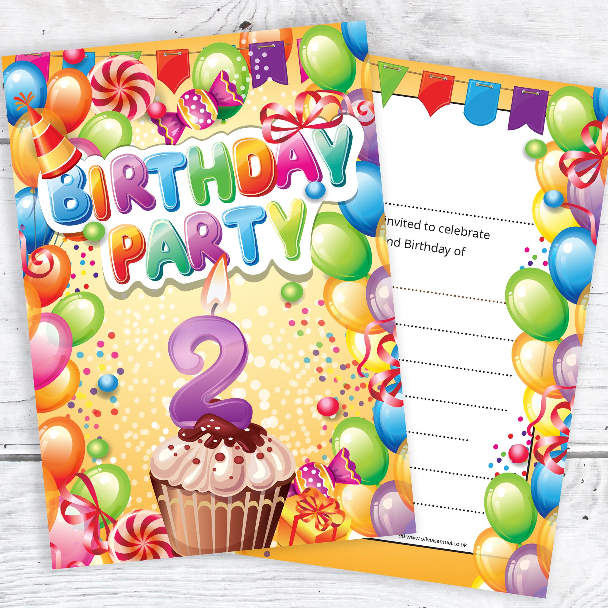 children s 2nd birthday party invites boy or girl bright fun design ready to write with envelopes pack 10