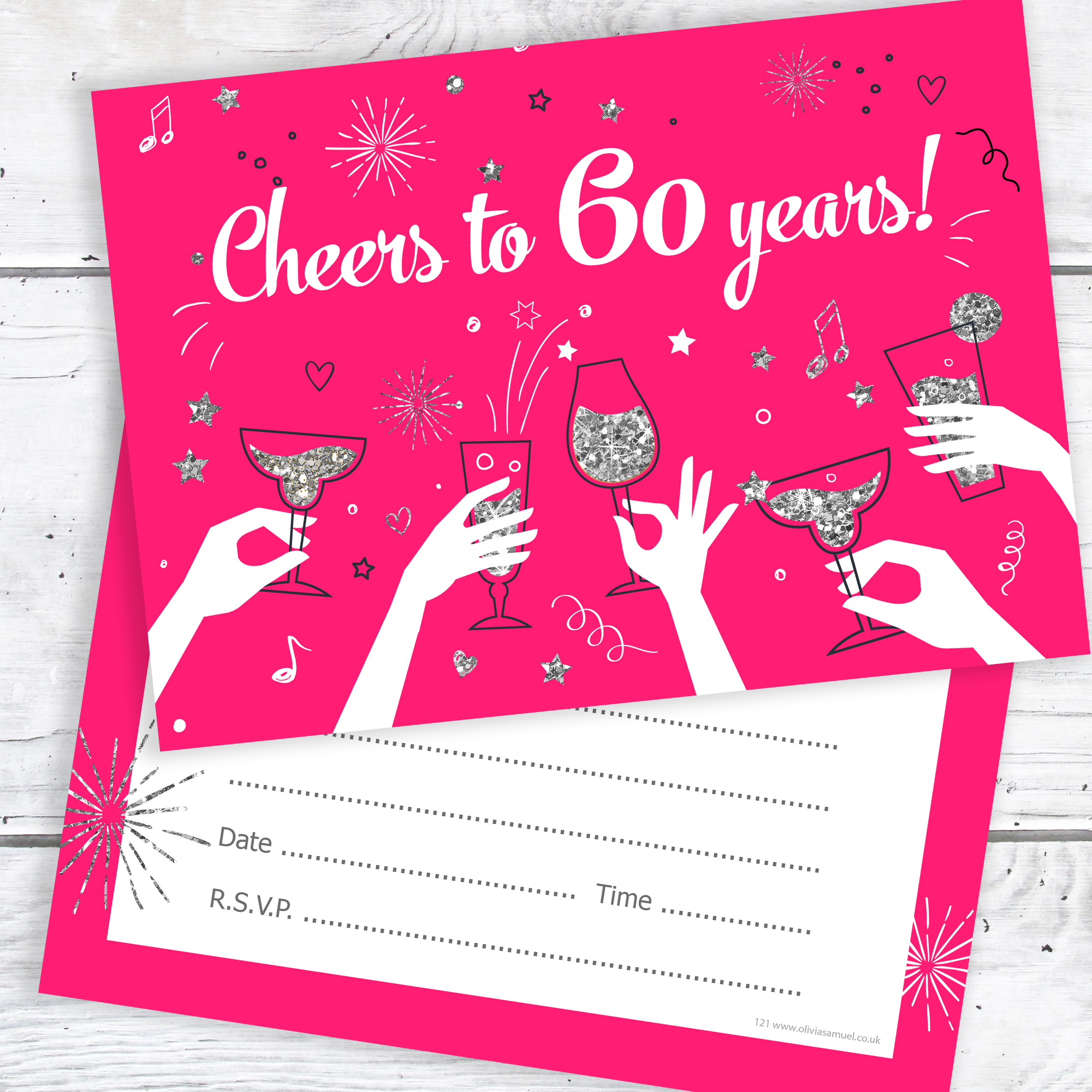 60th birthday party invitations cheers to 60 years ladies pack 10