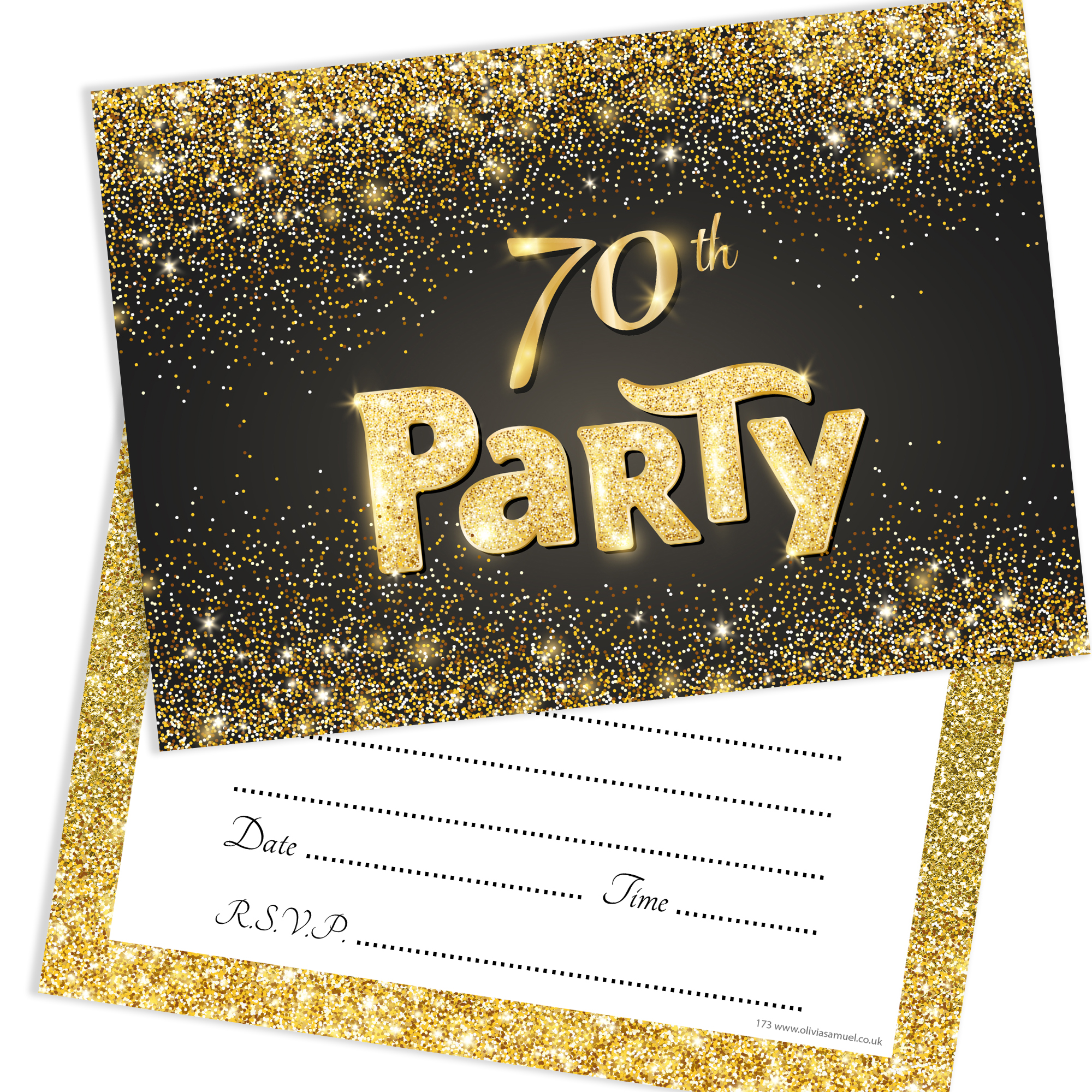 black and gold effect 70th birthday party invitations ready to write with envelopes pack 10