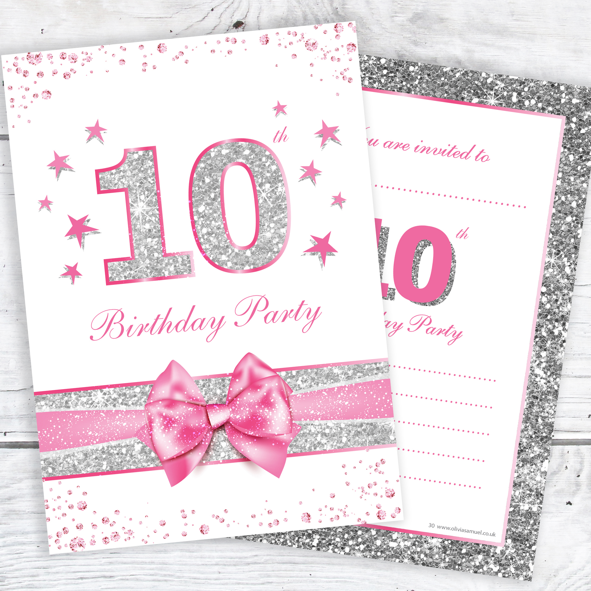 10th birthday party invitations pink sparkly design and photo effect silver glitter a6 postcard size with envelopes pack of 10