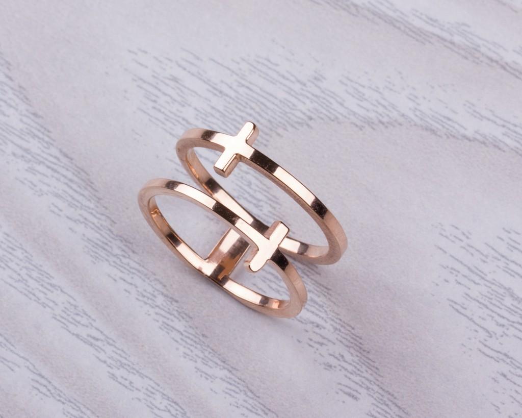 Rose Gold Cross Ring Double Ring Cross Ring