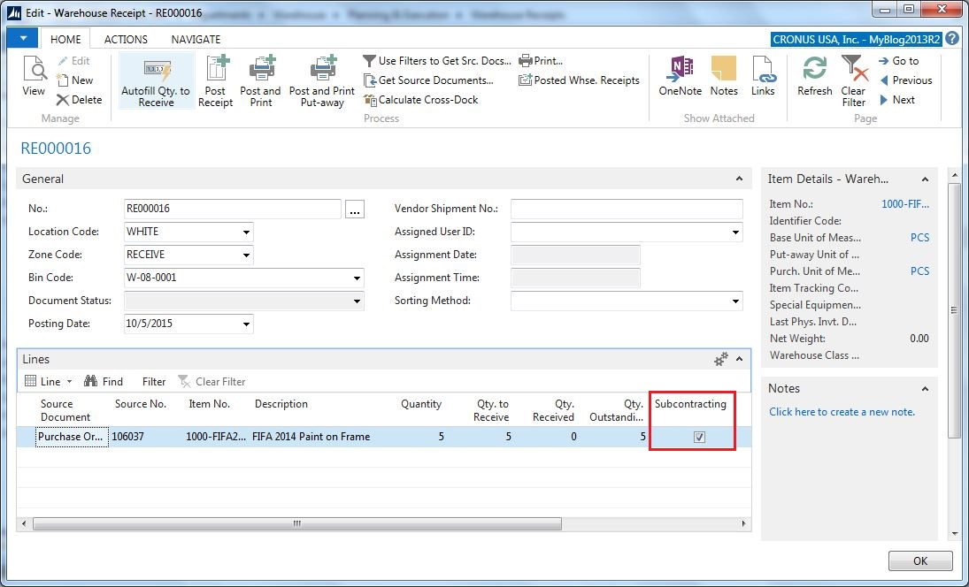 Warehouse Receipts with Subcontracting in Dynamics NAV – Receiving Receipt