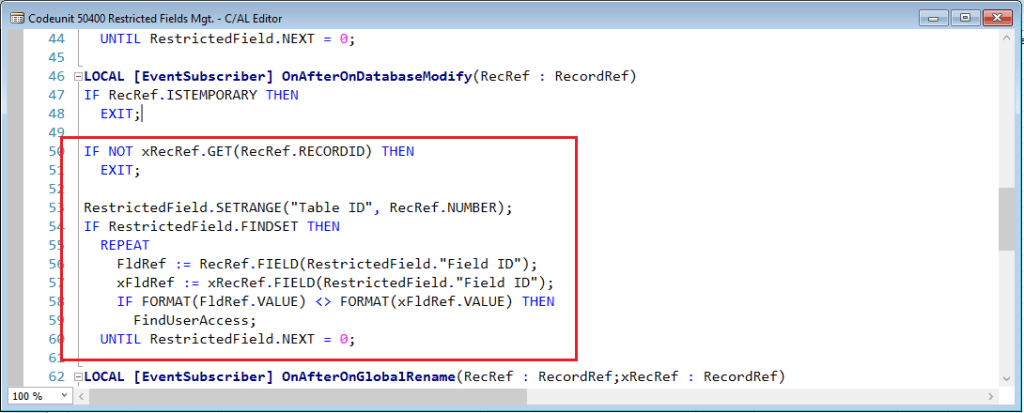 OnAfterDatabaseModify-Restricted-Fields-Codeunit-Dynamics-NAV-2016