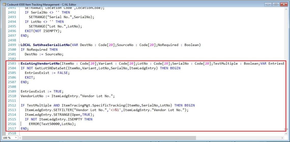 ExistingVendorLotNo-Item-Tracking-Management-Dynamics-NAV