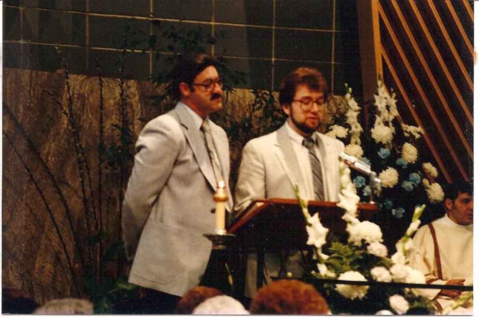 Dom Puechner (L) and Jim Sajdak at the 25th Anniversary Mass.