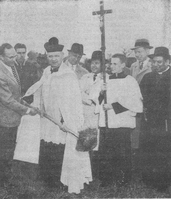 Fr. Kleefisch breaks ground for the church building April 26,1959.