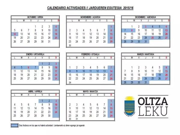 Calendario Curso 2015-16