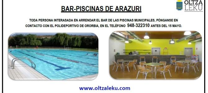 Alquiler Bar Piscinas Arazuri