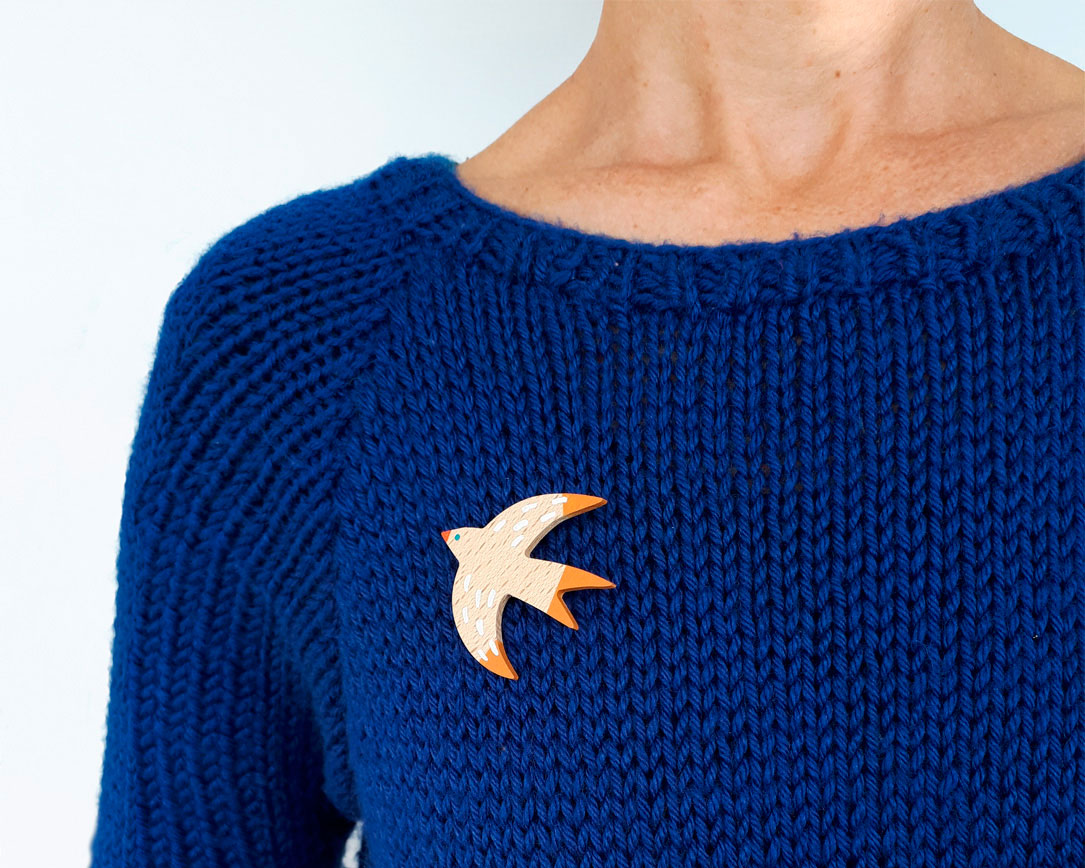 Swallow wooden brooch