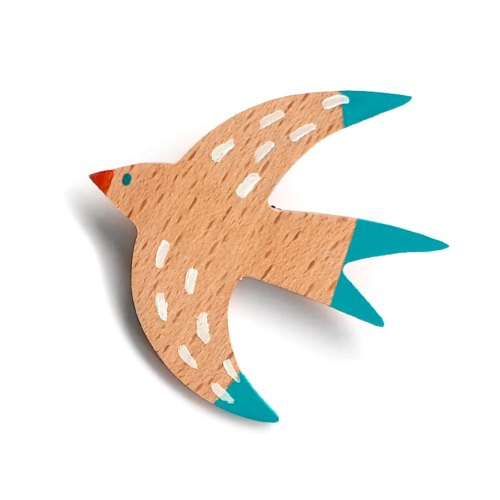Swallow brooch, broche de madera Swallow