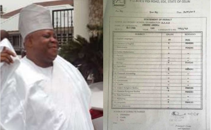 Ademola Adeleke Scores F9 In English, Missed The Rest Of The Exams