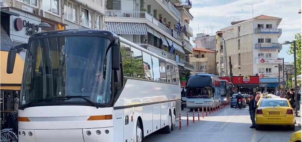 Κατερίνη | Διαμαρτυρία ιδιοκτητών λεωφορείων Δ. Χ.