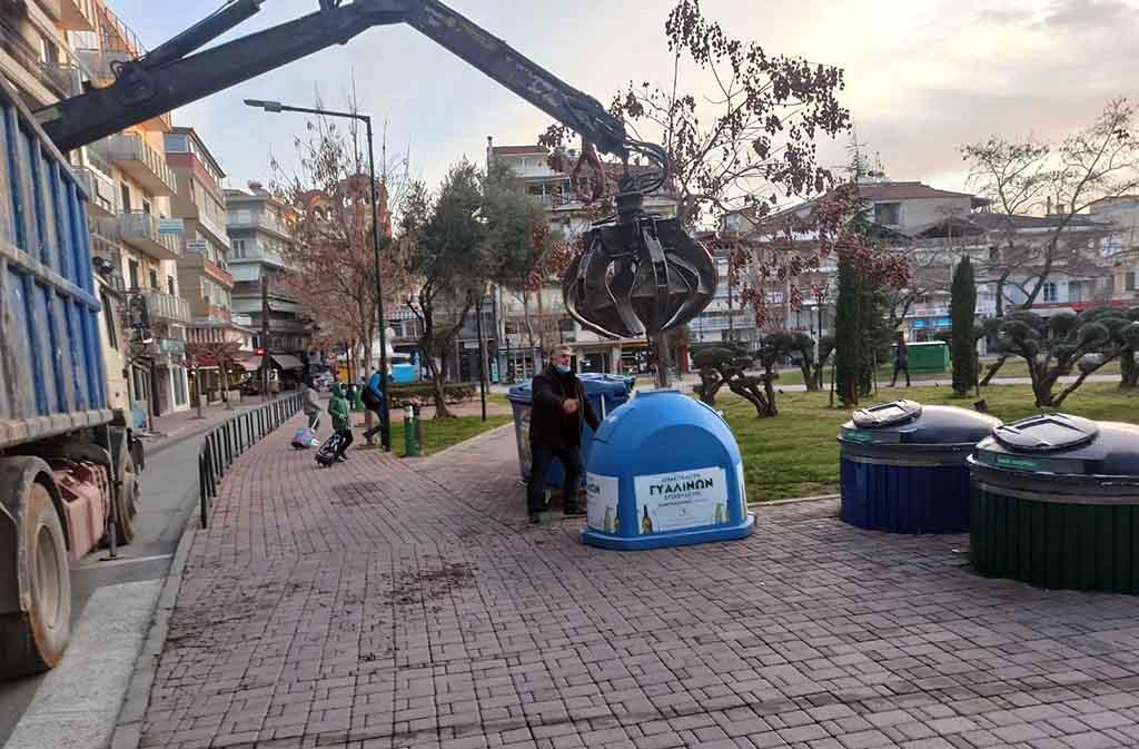 Δήμος Κατερίνης   Εγκατάσταση κωδωνοκάδων για ανακύκλωση γυάλινων συσκευασιών