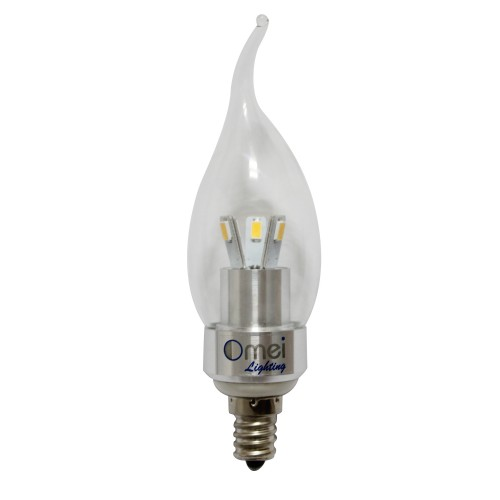 Led 3w Light Bulb E12 Candelabra Base Cool White 6000k Candle Bent Tip Dimmable 6 Pack