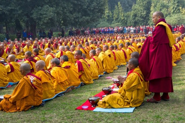 H.H the XVII Karmpa with monks at the 32nd Kagyu Monlam 2015