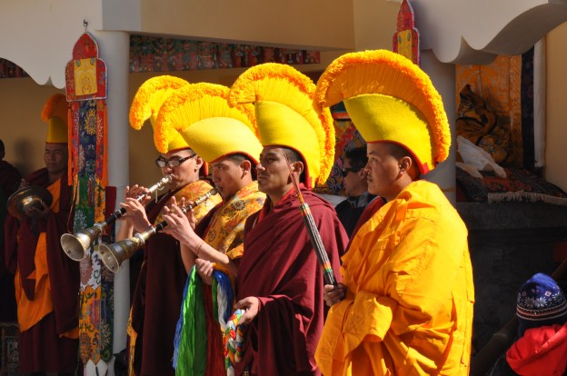 Monks playing trumpets at the Stok Festival