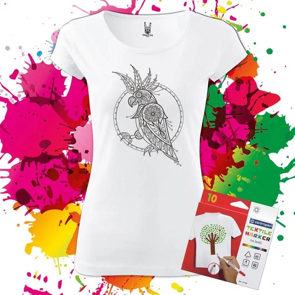 Dámske tričko Kakadu - Omaľovánka na tričku - Oma & Luj - Omaluj.sk