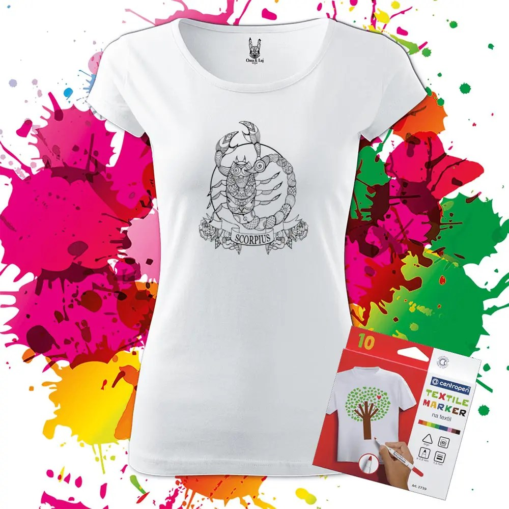 Dámske tričko Škorpión - Znamenia - Omaľovánka na tričku - Oma & Luj