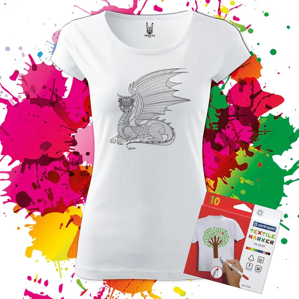 Dámske tričko Drak-Dragon profil - Omaľovánka na tričku - Oma & Luj