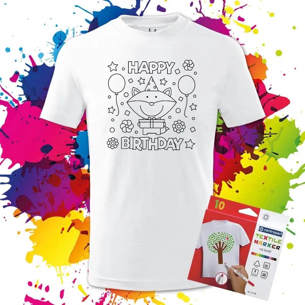 Detské tričko Happy Birthday - Omaľovánka na tričku - Oma & Luj
