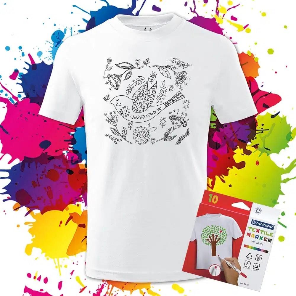 Detské tričko Ľudový vzor - Vtáčik na lúke - Omaľovánka na tričku - Oma & Luj