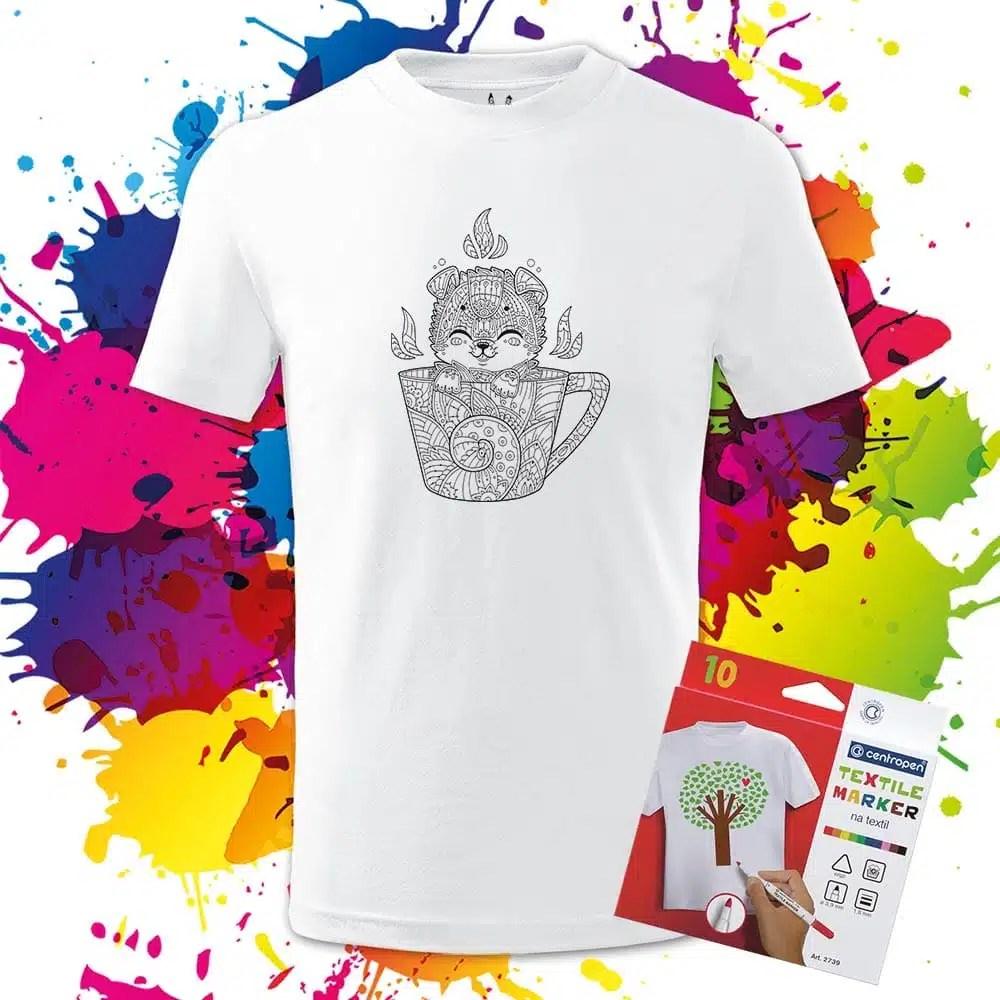 Detské tričko Šteniatko v šálke - Omaľovánka na tričku - Oma & Luj