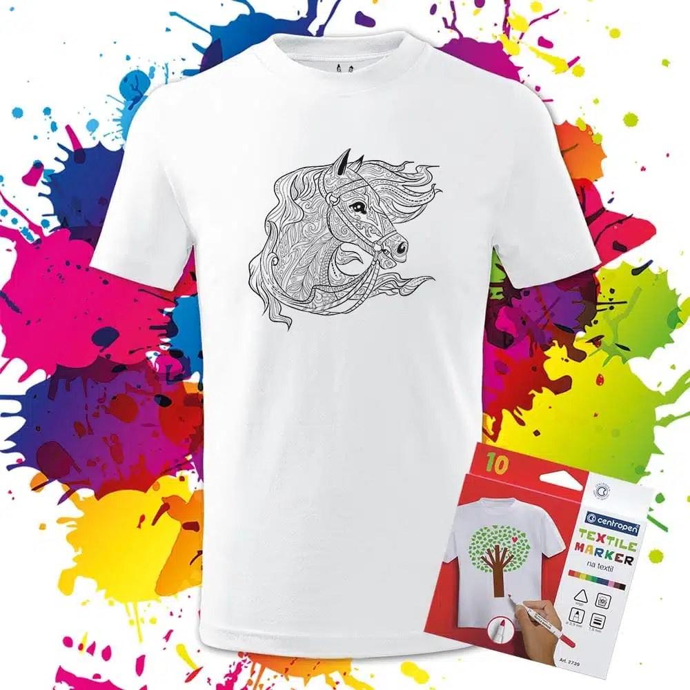 Detské tričko Kôň - Koník - Omaľovánka na tričku - Oma & Luj