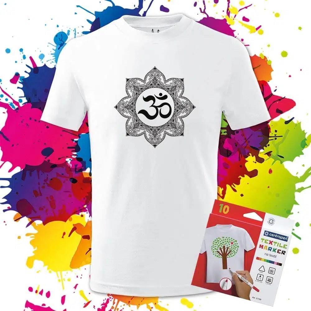 Detské tričko Mandala Ohm - Omaľovánka na Tričku - Oma & Luj